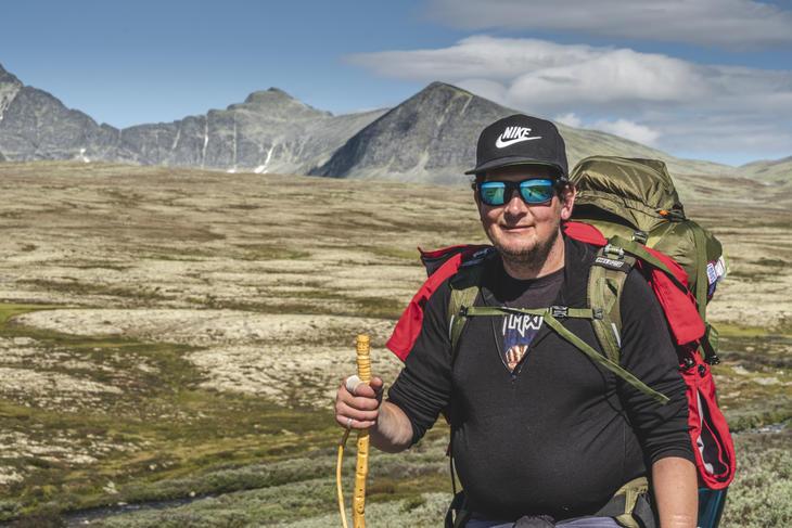 Her er Ivar Brecke Nygaard på vei fra Rondvassbu til Spranget.